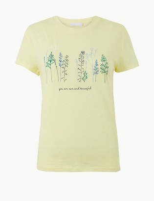 Marks and Spencer Cotton Rich Embroidered T-Shirt with Linen