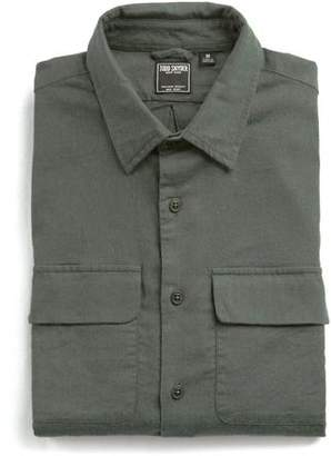 Todd Snyder Italian Stretch Cotton Flannel Camp Pocket Shirt in Olive