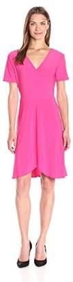 Star Vixen Women's 3/4 Sleeve Surplice Wrap Ity Knit Ballerina Dress with Skirt