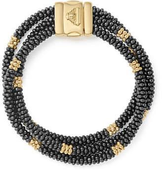 Lagos Three-Strand Black Caviar & 18K Gold Bracelet