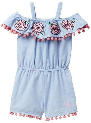 Betsey Johnson Embroidered Chambray Romper with Pompom Trim (Little Girls)