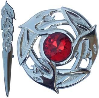 "Celtic Men's Scottish Fly Plaid Brooch Serpent Various Stones Chrome Finish/Highland Kilt Pin Knot 4"""