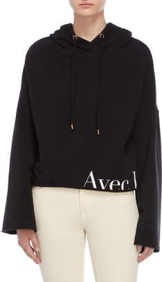 AVEC LES FILLES Black Cropped Fleece Hoodie