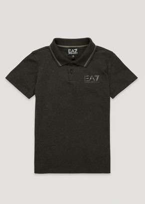 Emporio Armani Boys Cotton Polo Shirt With Ea7 Logo
