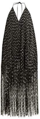 Jacquemus Riviera Fringed Polka Dot Mini Dress - Womens - Black