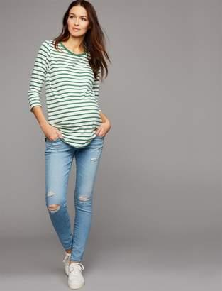 AG Jeans Secret Fit Belly Legging Ankle Maternity Jeans - Light Destructed