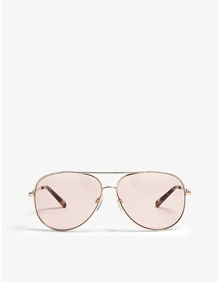4bbd9c37363e Michael Kors Ladies Shiny Rose Gold Modern Kendall I Aviator-Frame  Sunglasses
