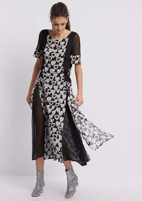 Emporio Armani Crepon Dress With Panels Printed In An All-Over Hearts Pattern