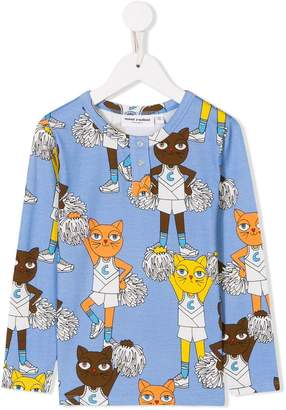 Mini Rodini cheer cats-print long sleeve T-shirt