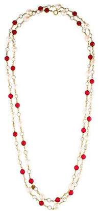 Chanel Crystal & Faux Pearl Strand Necklace