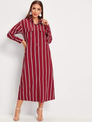 Shein Vertical-striped Flap Pocket Button Front Shirt Dress
