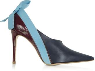 DELPOZO Marine, Light Blue and Burgundy Patent Leather Booties