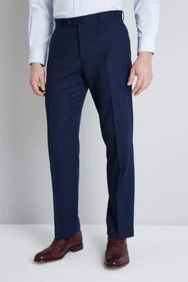Moss Esq. Regular Fit Navy Milled Stripe Trouser