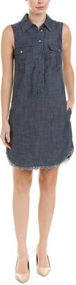 Trina Turk Stand-Up Collar Linen-Blend Shirtdress