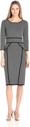 Gabby Skye Women's Diamond Printed Sheath Sweater Dress, Black/Ivory, M