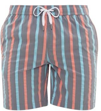 Onia Charles Striped Stretch Shell Swim Shorts - Mens - Blue Multi