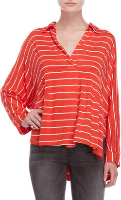Free People Striped Can't Fool Me Hi-Low Shirt