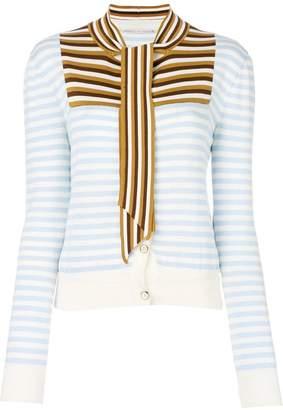 Marco De Vincenzo striped neck-tie cardigan