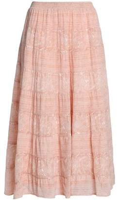 Joie Printed Silk Midi Skirt