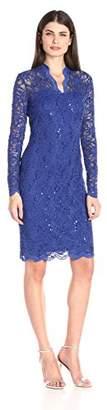 Marina Women's Long-Sleeve Lace Sequin Dress