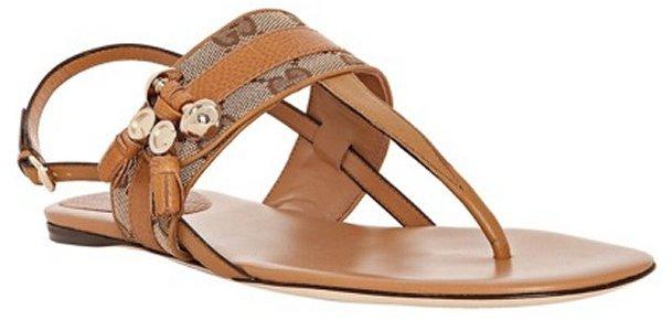 Gucci tan leather GG canvas 'Marrakesh' thong flat sandals