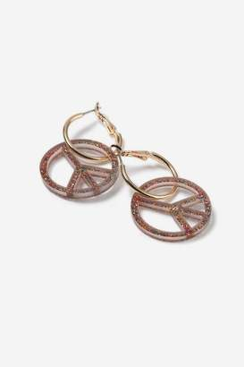 Topshop **Glitter Peach Hoop Earrings