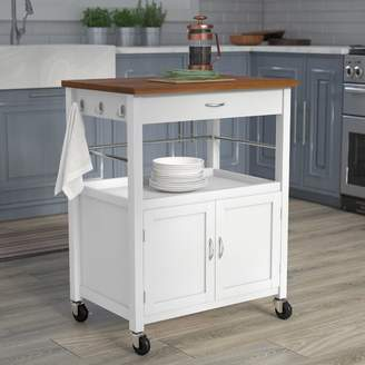 Andover Mills Kibler Kitchen Island Cart with Natural Butcher Block Bamboo Top
