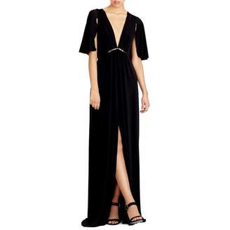 Black Cape Sleeve Jersey Gown