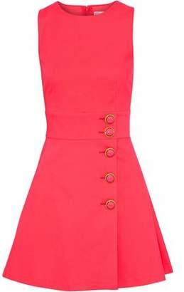 RED Valentino Button-Detailed Neon Cotton-Blend Mini Dress