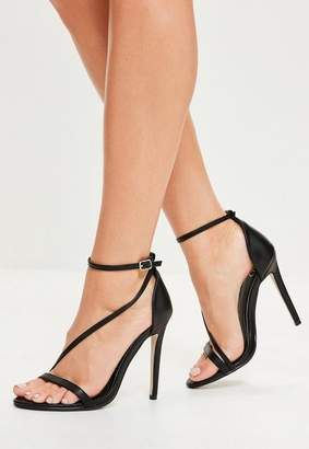 Missguided Black Asymmetric Barely There Heels