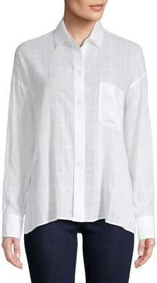 Vince Women's Windowpane Check Button-Front Shirt