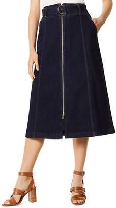 Karen Millen Zip-Front Denim Midi Skirt
