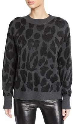 RtA Liam Leopard-Print Crewneck Pullover Sweater