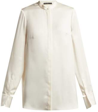 Alexander McQueen Silk Satin Long Sleeved Blouse - Womens - Ivory