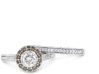 14k White Gold 1.22ct. Round Diamond Halo Engagement & Wedding Ring Set Size 7