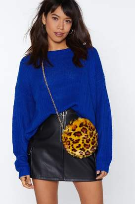 Nasty Gal Yellow Leopard Faux Fur Crossbody Bag