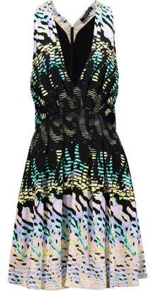 Roberto Cavalli Pleated Printed Piquè Mini Dress