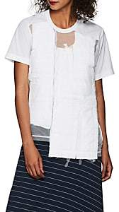 Comme des Garcons Women's Tulle-Overlay Patchwork Crepe T-Shirt - White