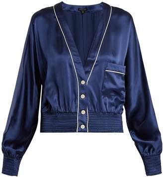 MORGAN LANE Varsity contrast-trim silk pyjama top