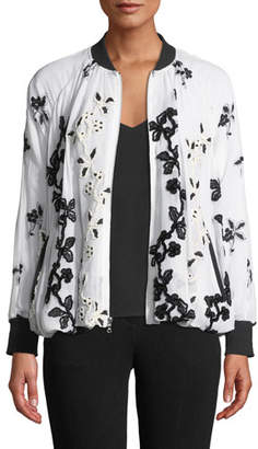 Josie Natori Zip-Front Embroidered Bomber Jacket