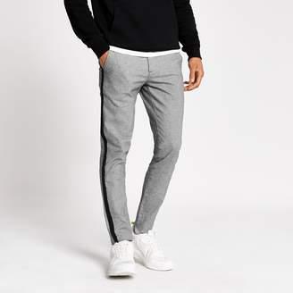 Mens Grey striped skinny Sid tape side trousers