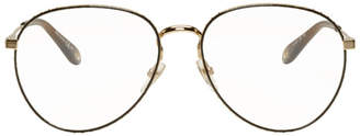 Givenchy Gold and Brown Studded Edge Aviator Glasses