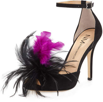 Neiman Marcus Tamsen Mixed Sandal with Feathers