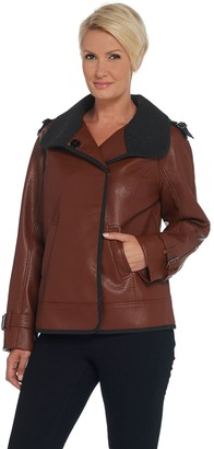Moto Dennis Basso Faux Leather Jacket w/ Epaulet Detail