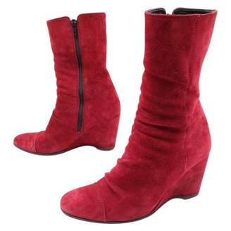 Hogan Red Suede Ankle boots