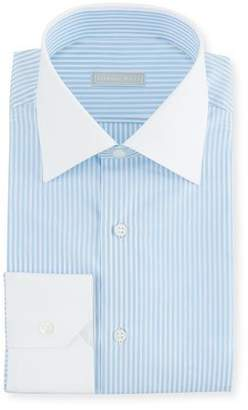 Stefano Ricci Men's Thin Stripe Dress Shirt with Contrast Trim