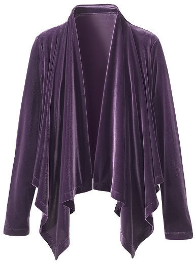 Signature Velvety Knitted Velour Collection: Drape-Front Cardigan