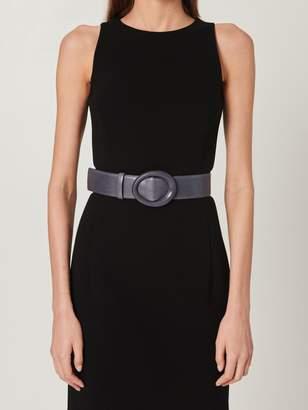 Oscar de la Renta Black Small Oval Leather Waist Belt
