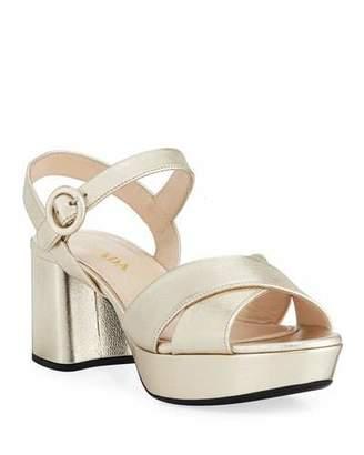 Prada Metallic Leather Crisscross Ankle-Wrap Sandals