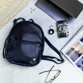 MAHI Leather Personalised Navy Leather Mini Backpack